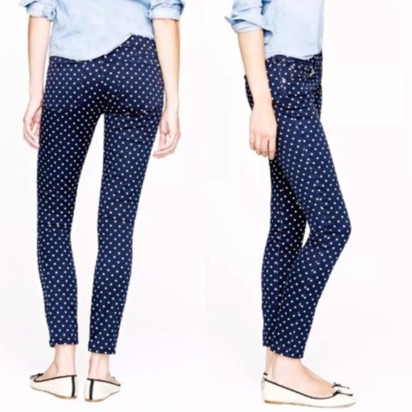 J Crew Toothpick Polka Dot Ankle Jeans size 31 Tall